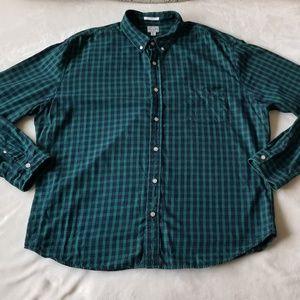 Lucky Brand Mens California Fit Plaid Shirt Green